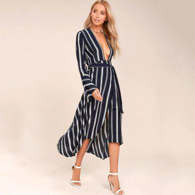 Womens Fashion Sexy Striped Long Sleeve DressWomens Dresses<br>Womens Fashion Sexy Striped Long Sleeve Dress<br><br>Dresses Length: Mid-Calf<br>Elasticity: Nonelastic<br>Fabric Type: Worsted<br>Material: Polyester, Cotton Blend<br>Neckline: V-Neck<br>Package Contents: 1 x Dress<br>Pattern Type: Striped<br>Season: Fall, Spring<br>Silhouette: A-Line<br>Sleeve Length: Long Sleeves<br>Style: Casual<br>Weight: 0.3500kg<br>With Belt: Yes