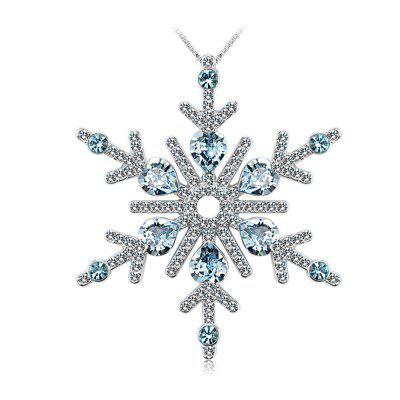 Buy SILVER AND BLUE OUXI Snow flower New Design and Fashion Romantic Crystal Necklace Pendant for $60.16 in GearBest store