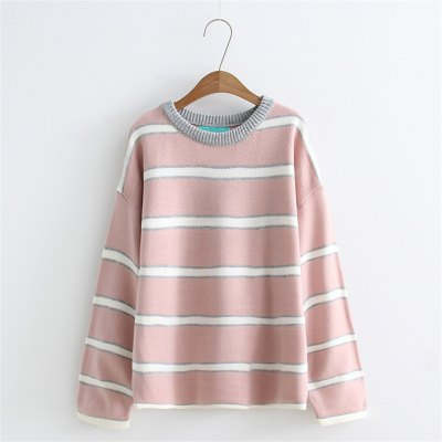 New Lady Stripe SweaterSweaters &amp; Cardigans<br>New Lady Stripe Sweater<br><br>Collar: Round Neck<br>Elasticity: Elastic<br>Material: Cotton, Cashmere, Wool<br>Package Contents: 1 x Sweater<br>Sleeve Length: Full<br>Style: Fashion<br>Type: Pullovers<br>Weight: 0.3000kg