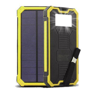 Solar Chargers 10000mAh GRDE Portable Dual USB Battery Charger External Battery Pack Phone Power Bank with Flashlight for Smartphones Tablet Camera
