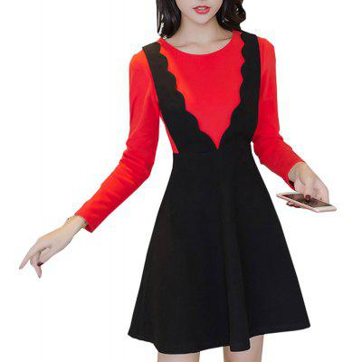 Buy BLACK&RED L 722659 Winter Pack A New Fake Two-Piece Warm Woollen Dress for $41.89 in GearBest store