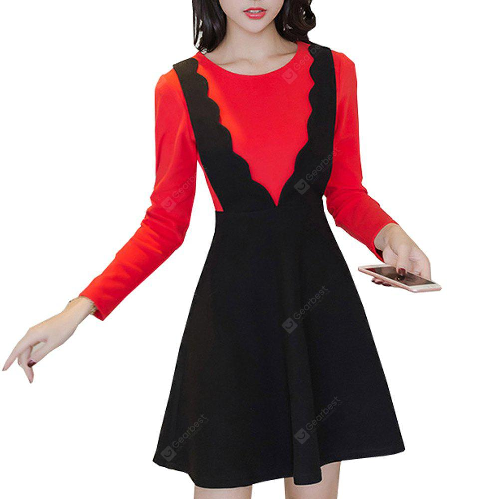 BLACK&RED M 722659 Winter Pack A New Fake Two-Piece Warm Woollen Dress