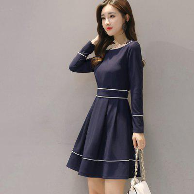 725071 Womens Dress Solid Color Slash Neck Long Sleeve Elegant DressWomens Dresses<br>725071 Womens Dress Solid Color Slash Neck Long Sleeve Elegant Dress<br><br>Dresses Length: Mid-Calf<br>Elasticity: Nonelastic<br>Fabric Type: Cotton and kapok hemp<br>Material: Viscose<br>Neckline: Round Collar<br>Package Contents: 1 x Dress<br>Pattern Type: Solid<br>Season: Fall<br>Silhouette: A-Line<br>Sleeve Length: Long Sleeves<br>Style: Fashion<br>Weight: 0.3000kg<br>With Belt: No