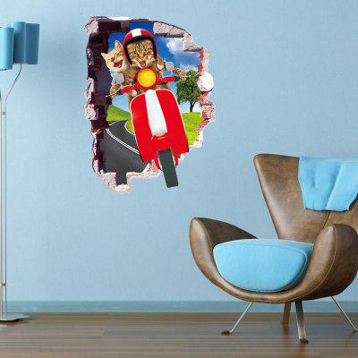 Buy DSU Creative Cartoon Cat Ride Children Kindergarten Wall Sticker, COLORFUL, Home & Garden, Home Decors, Wall Art, Wall Stickers for $4.14 in GearBest store