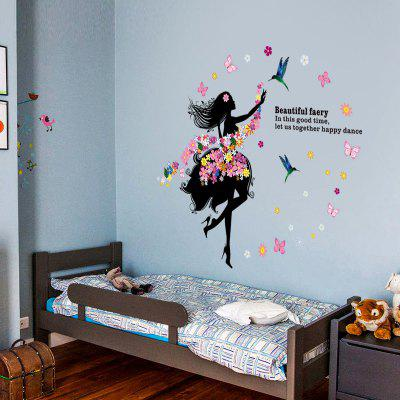 Buy DSU Art Decal Decoration Fashion Fairy Flower Girl Wall Sticker Butterfly Home Decor, COLORFUL, Home & Garden, Home Decors, Wall Art, Wall Stickers for $5.90 in GearBest store