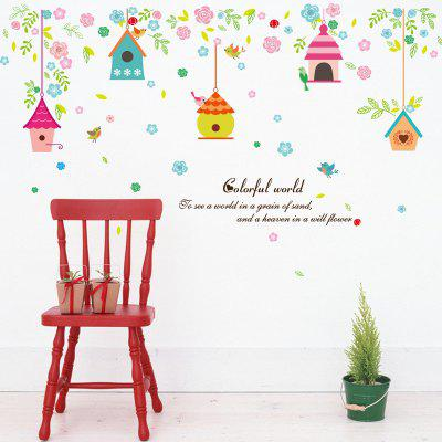 Buy DSU Colorful Cartoon Bird Cage Leaves Pattern Wall Sticker Kindergarten Living Room Bedroom Decor, COLORFUL, Home & Garden, Home Decors, Wall Art, Wall Stickers for $5.20 in GearBest store