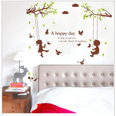Buy DSU Original New Boys and Girls Swinging Romantic Wall Sticker Bedroom Living Room Home Decor, COLORFUL, Home & Garden, Home Decors, Wall Art, Wall Stickers for $6.23 in GearBest store