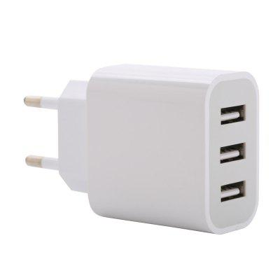 Buy WHITE New Phone Charger 3 USB Regulation Charger Intelligent Distribution Current 5 V 3100Ma for $4.57 in GearBest store