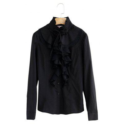 Women Office Blouses Victorian Top Button Silky Lace Collar Ruffle Satin ShirtsBlouses<br>Women Office Blouses Victorian Top Button Silky Lace Collar Ruffle Satin Shirts<br><br>Collar: Turtleneck<br>Elasticity: Micro-elastic<br>Embellishment: Ruffles<br>Fabric Type: Chiffon<br>Material: Polyester<br>Package Contents: 1  x  Blouse<br>Pattern Type: Solid<br>Shirt Length: Regular<br>Sleeve Length: Full<br>Style: Vintage<br>Weight: 0.2000kg