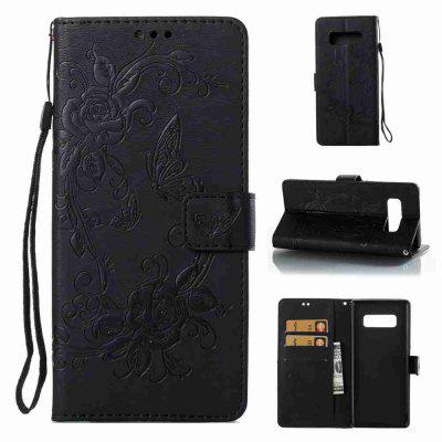 Embossed - Butterfly Flower PU Phone Case for Samsung Galaxy Note 8