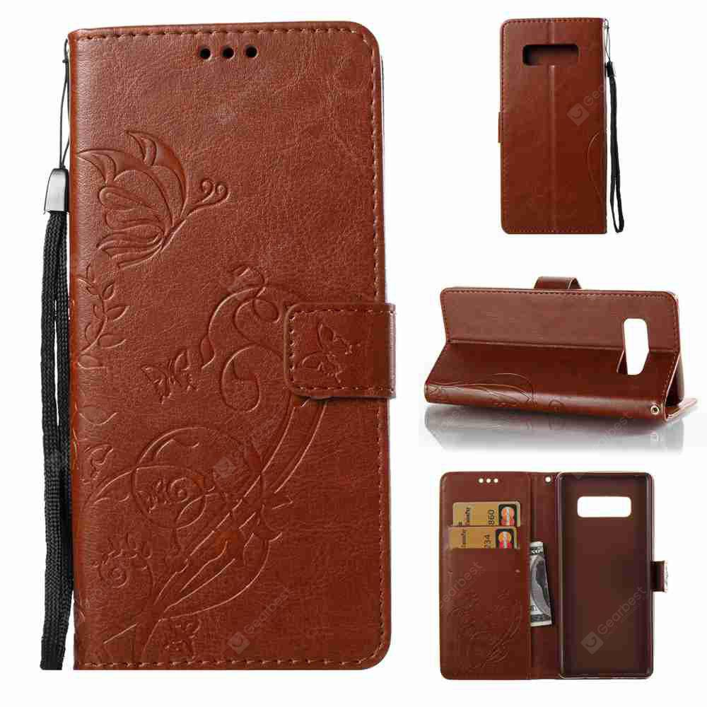 Single Embossed - Butterfly Flower PU Phone Case for Samsung Galaxy Note 8