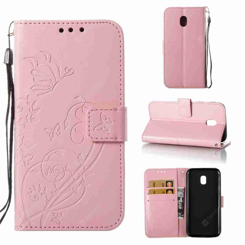 Single Embossed - Butterfly Flower PU Phone Case for Samsung Galaxy J330