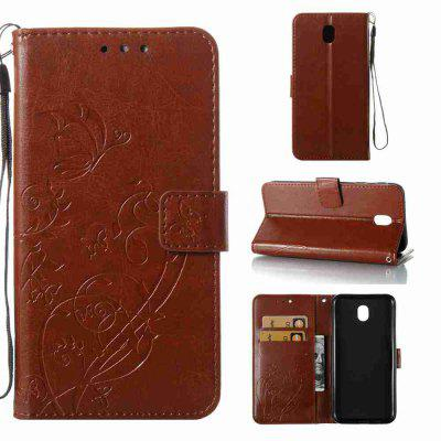Single Embossed - Butterfly Flower PU Phone Case for Samsung Galaxy J730