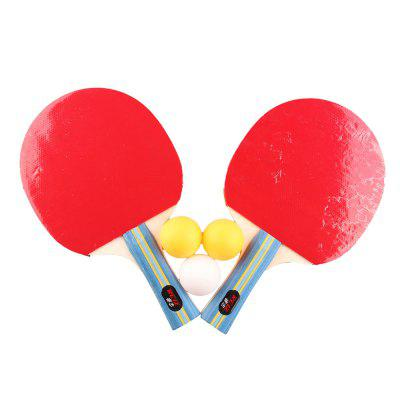 REIZ2501 Short or Long Handle Shake-hand Table Tennis Set 2 Rackets + 3 Balls Ping Pong Paddle