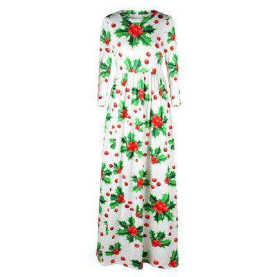Women's Fashion Christmas Print Round Neck Long Sleeve Dress