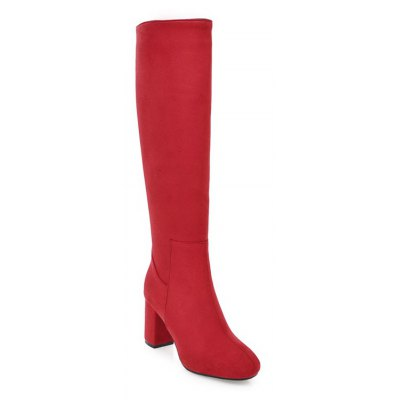 Buy RED 42 Women's Shoes Leatherette Winter Riding Fashion Boots Chunky Heel Round Toe Knee High Boots Zipper for $59.68 in GearBest store