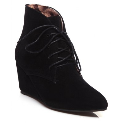 Concise Women's Shoes Leatherette Fall Winter Fashion Wedge Heel Pointed Toe Booties Ankle Boots Lace-up
