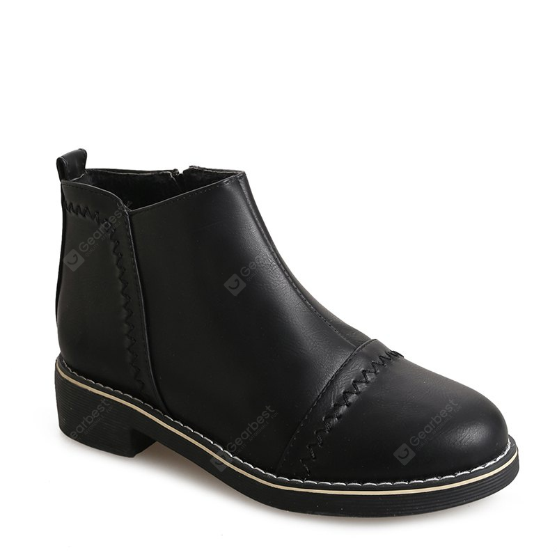 BLACK 37 Winter Fashion Martin Shoes Students Thick Soled Female Short Boots