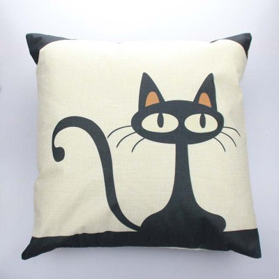 Buy COLORMIX DIHE Black Cat Cushion Sofa Home Decorative Linen Pillow Cover for $7.36 in GearBest store