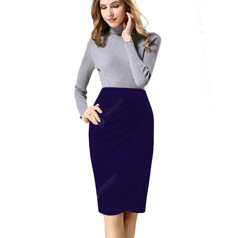 Buy Women's Ruching Solid Color Plus Size Pencil Skirt M BLUE VIOLET