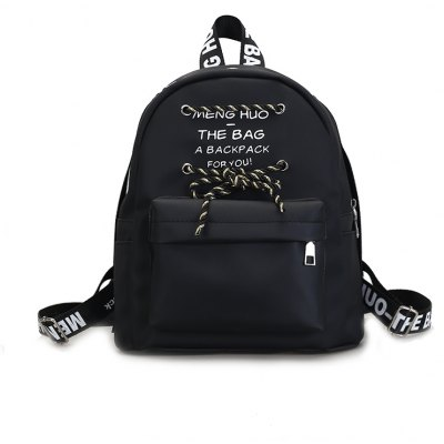 MENGHUO Fashion Casual Words Decoration Backpack Simple School Bag
