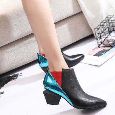 Autumn New Sexy Multi-Color Single BootsWomens Boots<br>Autumn New Sexy Multi-Color Single Boots<br><br>Boot Height: Ankle<br>Boot Type: Fashion Boots<br>Closure Type: Slip-On<br>Gender: For Women<br>Heel Height: 3.5<br>Heel Height Range: Low(0.75-1.5)<br>Heel Type: Strange Style<br>Insole Material: PU<br>Lining Material: Plush<br>Outsole Material: Rubber<br>Package Contents: 1 x Boots (pair)<br>Pattern Type: Patchwork<br>Season: Spring/Fall, Winter<br>Shoe Width: Medium(B/M)<br>Toe Shape: Round Toe<br>Upper Material: PU<br>Weight: 3.6000kg