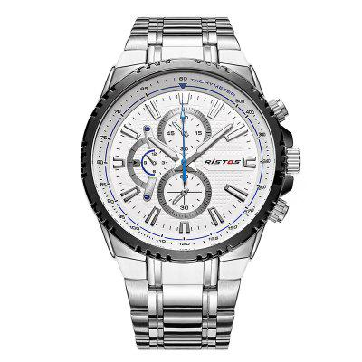 RISTOS 9323 Waterproof Men Sports Leisure Steel Band Watch