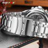 RISTOS 9323 Waterproof Men Sports Leisure Steel Band Watch - SILVER AND WHITE