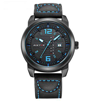 RISTOS 9011 Men Waterproof Sports Leisure Leather Band Buckle Watch