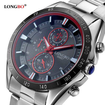 LONGBO 80007 Men Sports Leisure Steel Band Waterproof WatchMens Watches<br>LONGBO 80007 Men Sports Leisure Steel Band Waterproof Watch<br><br>Band material: Stainless Steel<br>Band size: 25 x 2cm<br>Brand: Longbo<br>Case material: Zinc Alloy<br>Clasp type: Sheet folding clasp<br>Dial size: 4.5 x 4.5 x 1.3cm<br>Display type: Analog<br>Movement type: Quartz watch<br>Package Contents: 1 x Watch, 1 x Watch Box<br>Package size (L x W x H): 12.20 x 9.00 x 8.70 cm / 4.8 x 3.54 x 3.43 inches<br>Package weight: 0.2922 kg<br>Product size (L x W x H): 25.00 x 4.50 x 1.30 cm / 9.84 x 1.77 x 0.51 inches<br>Product weight: 0.1130 kg<br>Shape of the dial: Round<br>Special features: Light, IP plating<br>Watch mirror: Mineral glass<br>Watch style: Casual, Fashion<br>Watches categories: Men