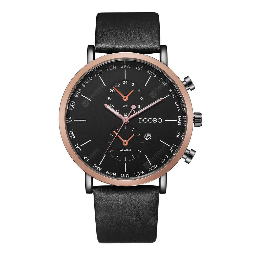DOOBO D017 4756 Leisure Fashion Leather Band Quartz Men Watch with Box