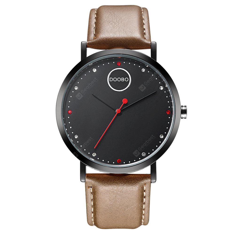 DOOBO D023 4761 Contracted Thin Leather Band Men Quartz Movement Watch with Box