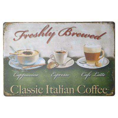 Coffee Pattern Vintage Metal Painting for Cafe Bar Restaurant Wall Decor