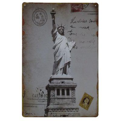 Statue of Liberty Vintage Style Metal Painting for Cafe Bar Restaurant Wall Decor