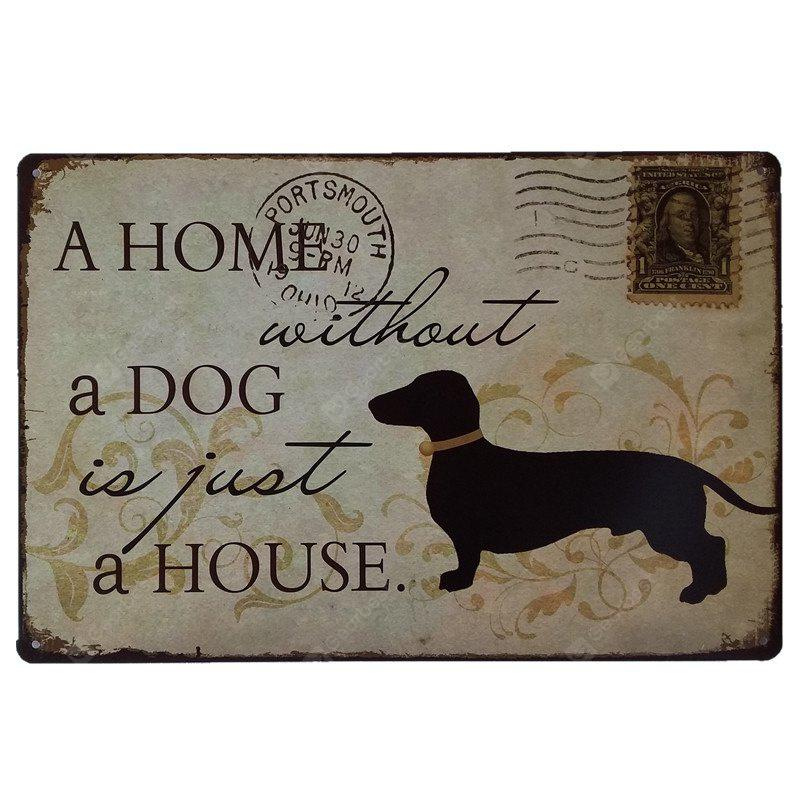 Dog Stamps Retro Style Metal Painting for Cafe Bar Restaurant Wall Decor