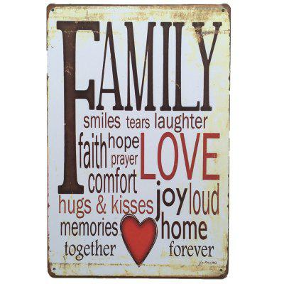 Family English Proverbs  Metal Painting for Cafe Bar Restaurant Wall Decor