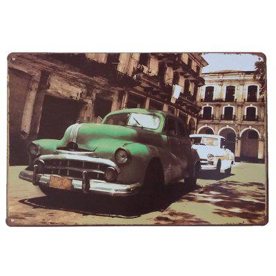 O Green Car Vintage Style Metal Painting para Cafe Bar Restaurant Wall Decor