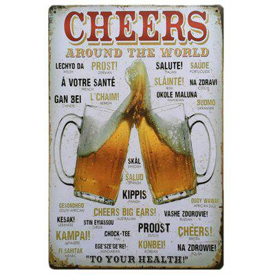 Cheers Vintage Style Metal Painting para Cafe Bar Restaurant Wall Decor