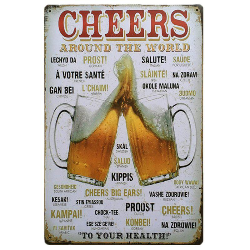Cheers Vintage Style Metal Painting Cafe Bar Restaurant Wall Decor COLORMIX