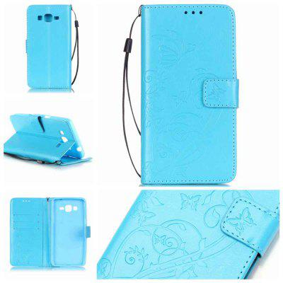 Single Embossed - Butterfly Flower Caso de telefone PU para Samsung Galaxy Grand Prime G530