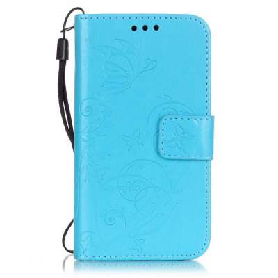 Single Embossed - Butterfly Flower Caso de telefone PU para Samsung Galaxy Core Prime G530