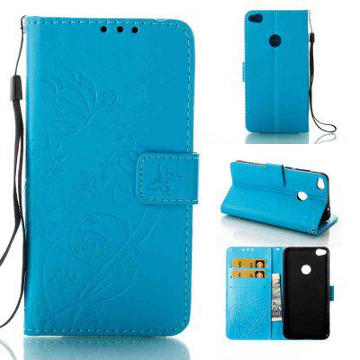 Buy WINDSOR BLUE Single Embossed Butterfly Flower PU Phone Case for HUAWEI P8 Lite 2017 for $6.60 in GearBest store