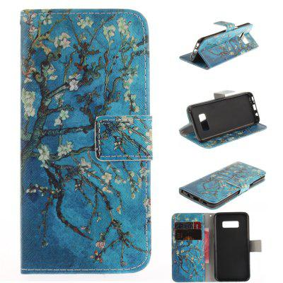 Apricot Blossom Pattern PU TPU Leather Wallet Case Design Stand Card Slots Magnetic Closure Case for Samsung Galaxy S8 Plus