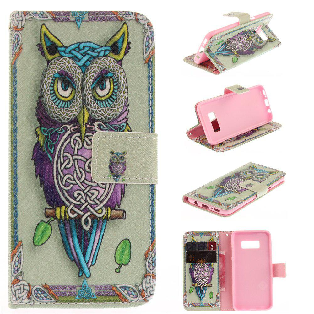 Owl Design PU TPU Leather Wallet Case Design Stand Card Slots Magnetic Closure Case for Samsung Galaxy S8 Plus