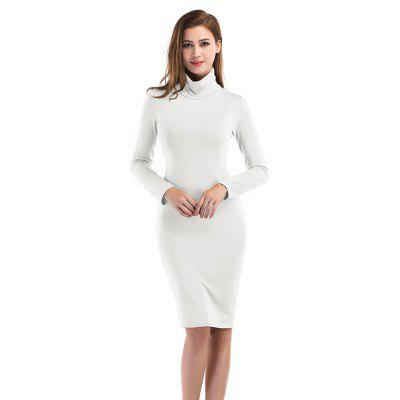 Solid Color High Collar Long Sleeves Dress