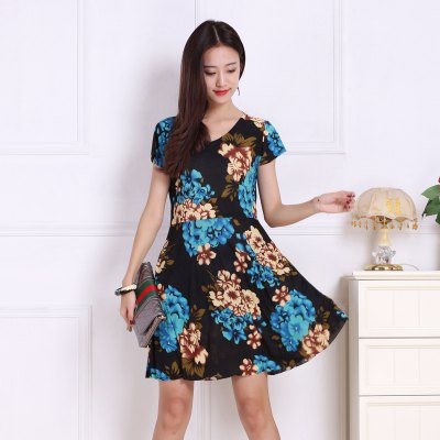 Womens Color Flowers Increase Prints DressesMini Dresses<br>Womens Color Flowers Increase Prints Dresses<br><br>Dresses Length: Mini<br>Elasticity: Micro-elastic<br>Fabric Type: Broadcloth<br>Material: Rayon<br>Neckline: V-Neck<br>Package Contents: 1xDress<br>Pattern Type: Floral<br>Season: Summer<br>Silhouette: A-Line<br>Sleeve Length: Short Sleeves<br>Style: Sweet<br>Weight: 0.1800kg<br>With Belt: No