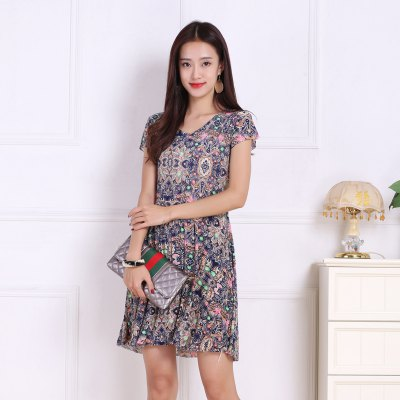 Womens Retro Flowers Increase Prints DressesMini Dresses<br>Womens Retro Flowers Increase Prints Dresses<br><br>Dresses Length: Mini<br>Elasticity: Micro-elastic<br>Fabric Type: Broadcloth<br>Material: Rayon<br>Neckline: V-Neck<br>Package Contents: 1xDress<br>Pattern Type: Floral<br>Season: Summer<br>Silhouette: A-Line<br>Sleeve Length: Short Sleeves<br>Style: Sweet<br>Weight: 0.1800kg<br>With Belt: No