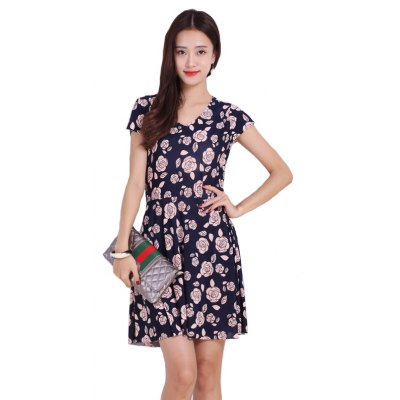 Buy DEEP BLUE L Women's Pink Flower Printing Increase Prints Dresses for $16.77 in GearBest store