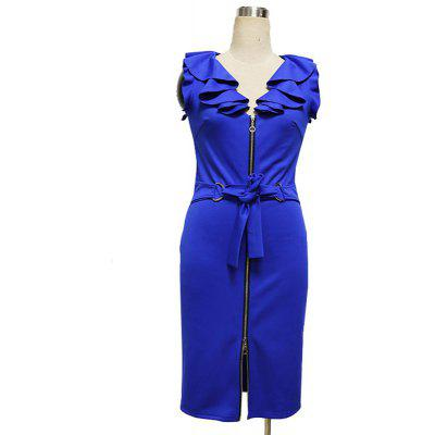 Womens  Sleeveless V Neck Ruffle Solid DressBodycon Dresses<br>Womens  Sleeveless V Neck Ruffle Solid Dress<br><br>Dresses Length: Knee-Length<br>Elasticity: Elastic<br>Fabric Type: Broadcloth<br>Material: Polyester, Cotton Blend<br>Neckline: V-Neck<br>Package Contents: 1 x Dress<br>Pattern Type: Solid<br>Season: Summer<br>Silhouette: Sheath<br>Sleeve Length: Sleeveless<br>Style: Fashion<br>Weight: 0.2500kg<br>With Belt: Yes