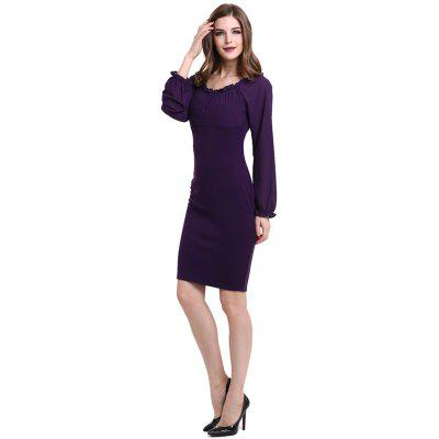 Womens Sheath  Round Neck Long Sleeve Ruching Solid Midi DressWomens Dresses<br>Womens Sheath  Round Neck Long Sleeve Ruching Solid Midi Dress<br><br>Dresses Length: Knee-Length<br>Elasticity: Elastic<br>Fabric Type: Broadcloth<br>Material: Polyester, Cotton Blend<br>Neckline: Round Collar<br>Package Contents: 1 x Dress<br>Pattern Type: Solid<br>Season: Fall<br>Silhouette: Sheath<br>Sleeve Length: Long Sleeves<br>Style: Fashion<br>Weight: 0.3000kg<br>With Belt: No